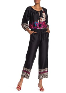 Trina Turk Obsidian Border Wide Leg Satin Pants