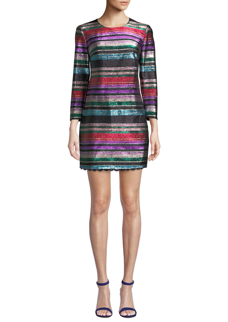 Trina Turk Occasion Jewel-Neck 3/4-Sleeve Metallic Party Striped Dress