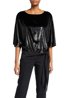 Trina Turk On The Rocks 1/2-Sleeve Shiny Velvet Top