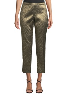 Trina Turk Osmond Metallic-Brocade  Ankle-Length Pants