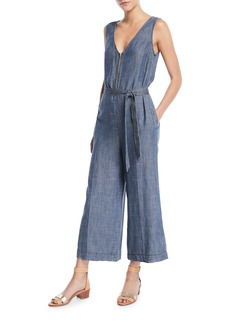 Trina Turk Palo Alto V-Neck Jumpsuit in Crosshatch Chambray
