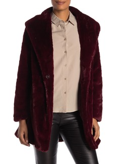 Trina Turk Peggy Front Wrap Faux Fur Coat
