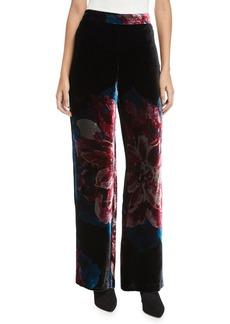Trina Turk Penelope Floral Velvet Wide-Leg Pants