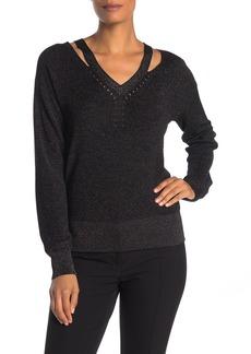 Trina Turk Pilsner Metallic Knit Shoulder Cutout Sweater