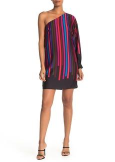 Trina Turk Pina Colada One-Shoulder Stripe Dress