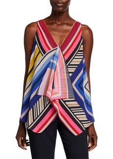 Trina Turk Pinot Gris Striped V-Neck Sleeveless Top