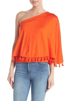 Trina Turk Pomona One Shoulder Tassel Trim Blouse