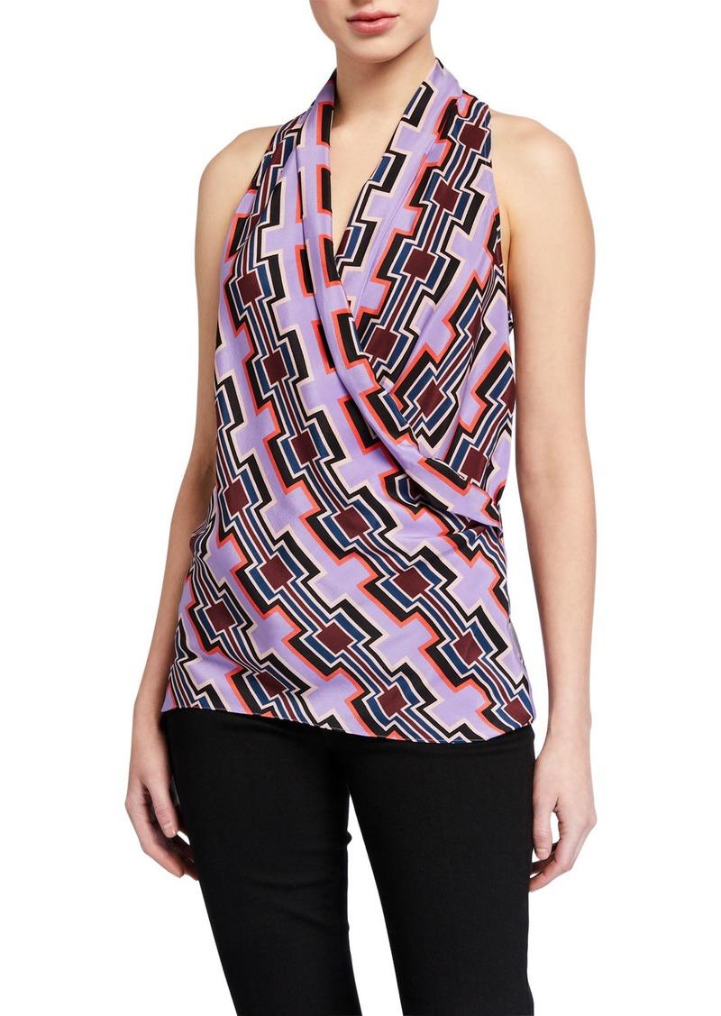 Trina Turk Printed Surplice Sleeveless Top