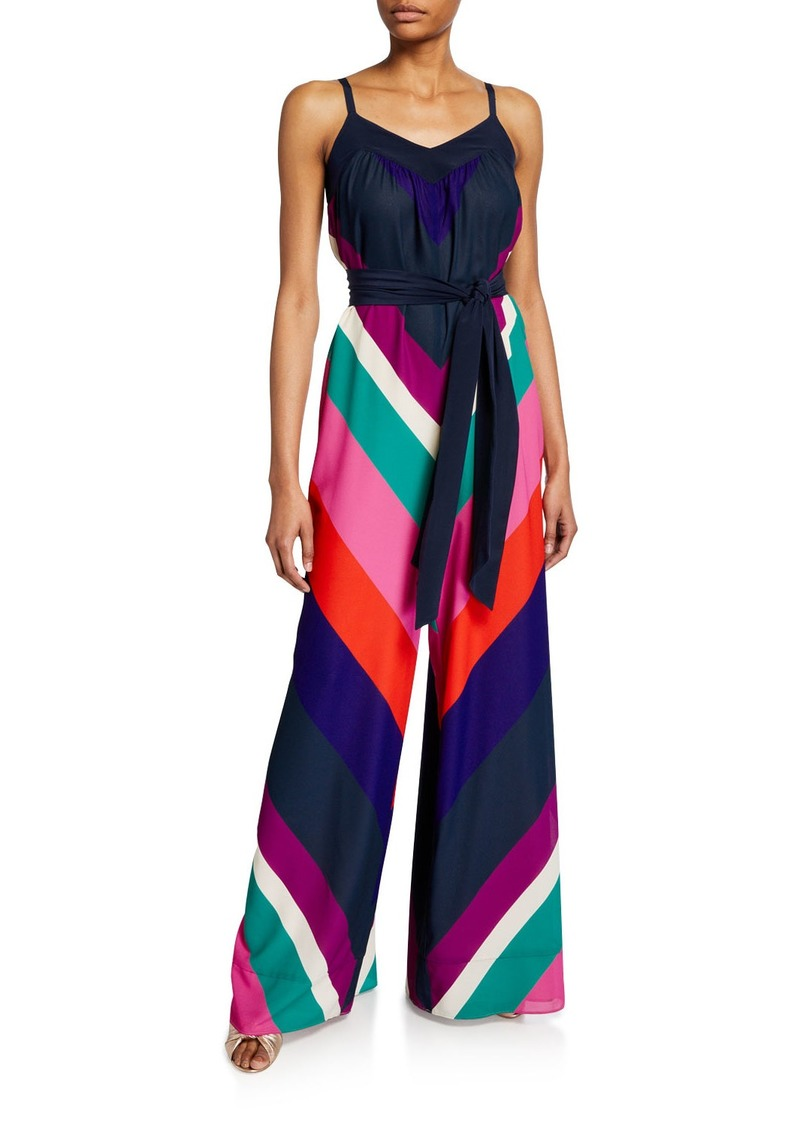 Trina Turk Remote Chevron Striped Sleeveless Jumpsuit