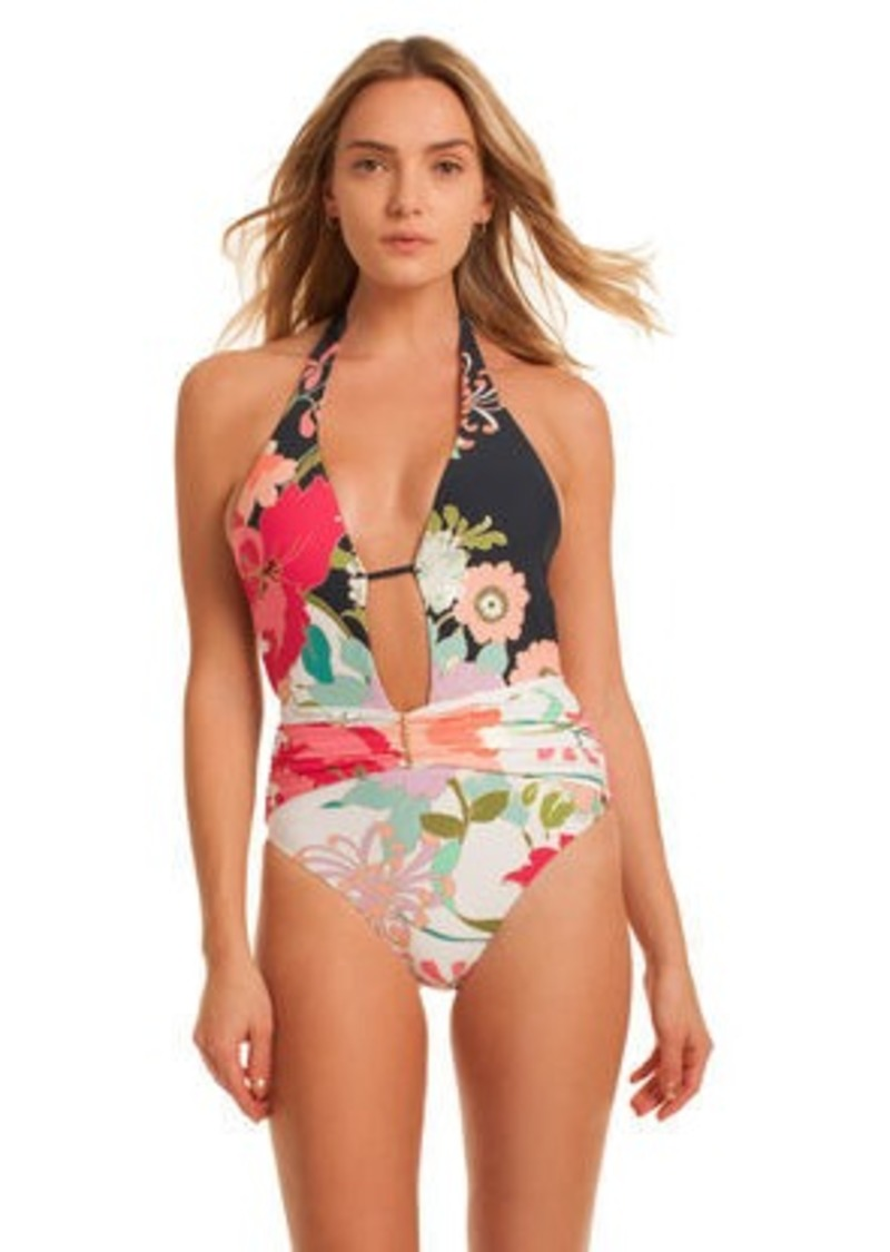 62ece7b8ab3 Trina Turk royal botanical v plunge one piece | Swimwear