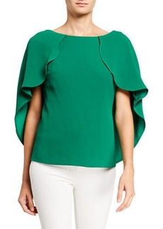 Trina Turk Saki Short-Sleeve Cape Top w/ Disco Ball Tie Detail