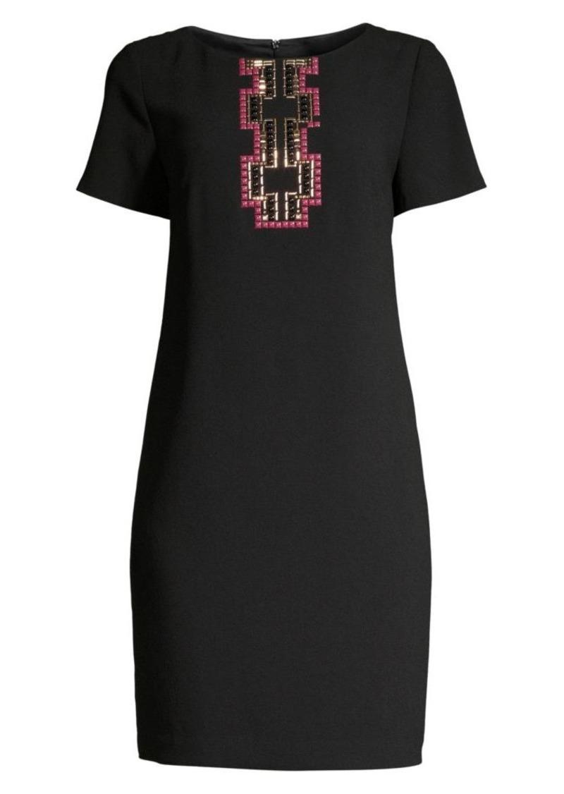 Trina Turk Sangiovese Embellished Short-Sleeve Dress