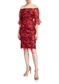 Trina Turk Semillon Floral Off-the-Shoulder Sheath Dress