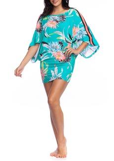 Trina Turk Shangri La Floral Side-Stripe Coverup Tunic