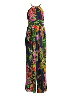 Trina Turk Shangri-La Jungle Silk Halterneck Jumpsuit
