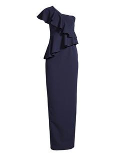 Trina Turk Shangri-La Waterfall One-Shoulder Gown