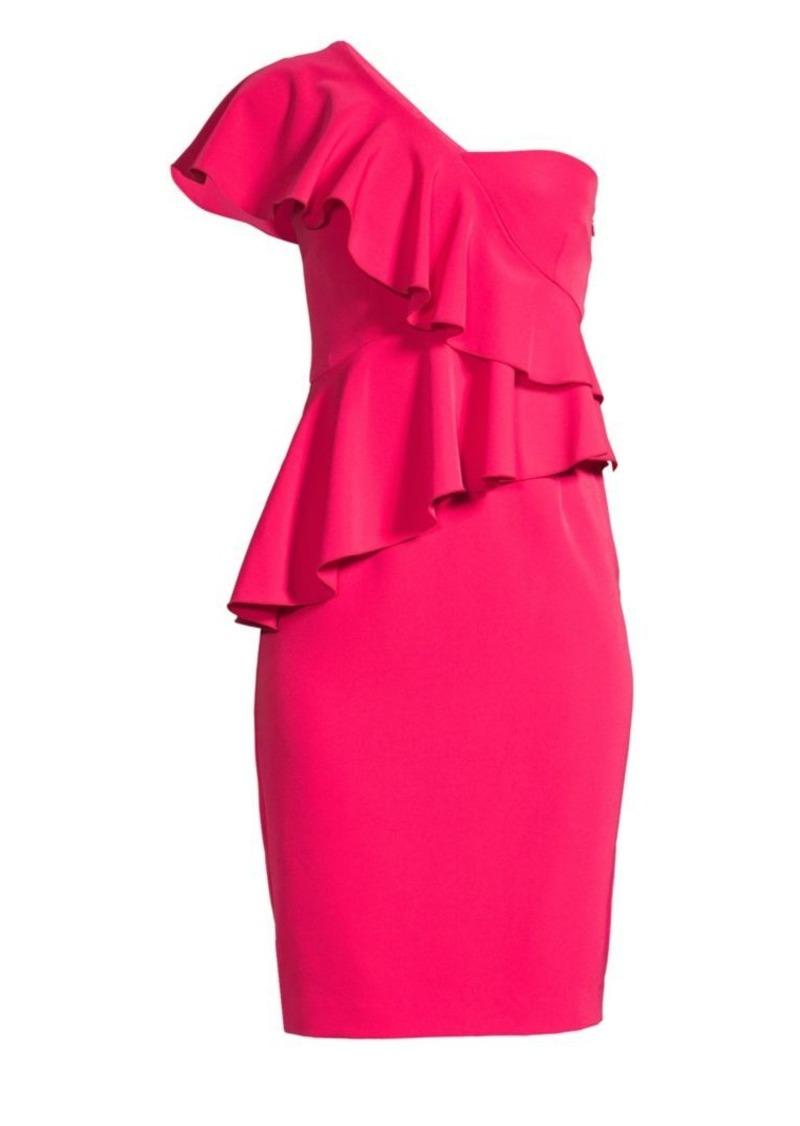 Trina Turk Shangri-La Waterfall One-Shoulder Sheath Dress
