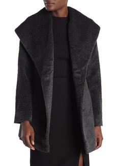 Trina Turk Sheared Wool Blend Shawl Collar Coat