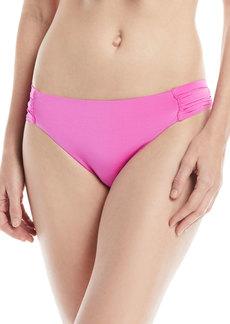 Trina Turk Shirred-Sides Solid Swim Bikini Bottoms