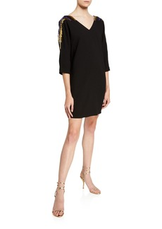 Trina Turk Shobu Sequin Embellished 3/4-Sleeve Crepe Shift Dress
