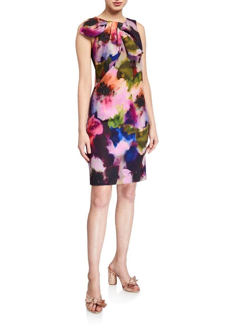 Trina Turk Sleeveless Floral Printed Smoothie Shift Dress w/ Bow Detail