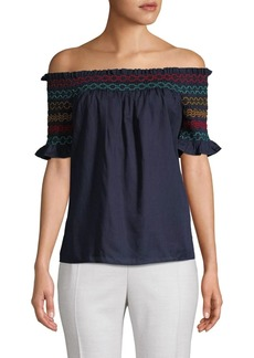 Trina Turk Smocked Off-The-Shoulder Cotton Top