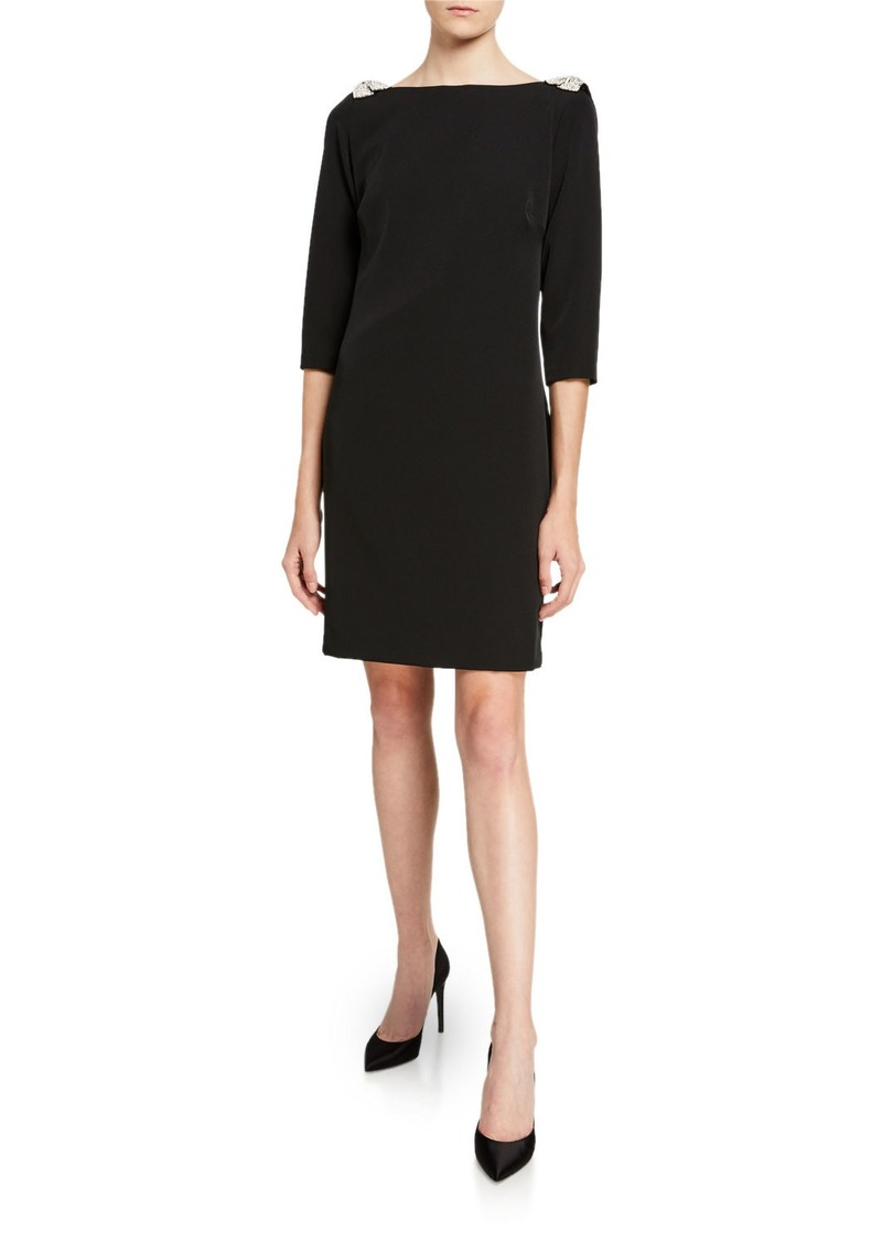 Trina Turk Smoothie Embellished Shoulder 3/4-Sleeve Shift Dress