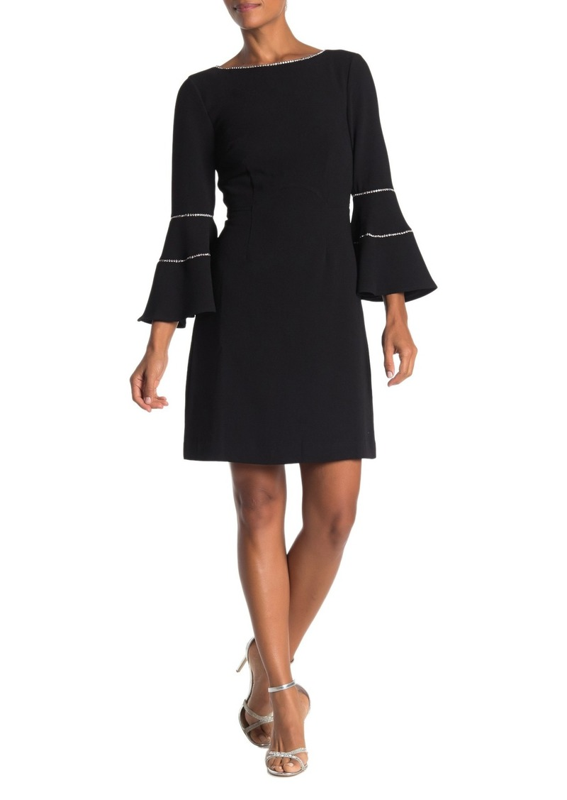Trina Turk Socialite Embellished Trim Bell Sleeve Dress
