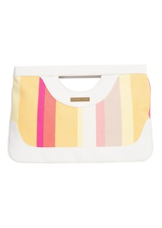Trina Turk SOLAIRE STRIPE CANVAS CLUTCH