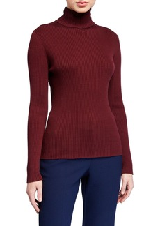 Trina Turk Solid Ribbed Turtleneck Cotton Sweater