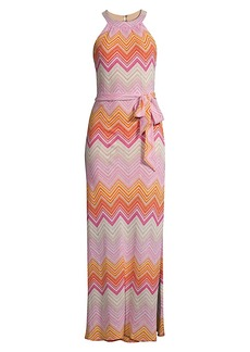 Trina Turk Speakeasy Knit Chevron Maxi Dress