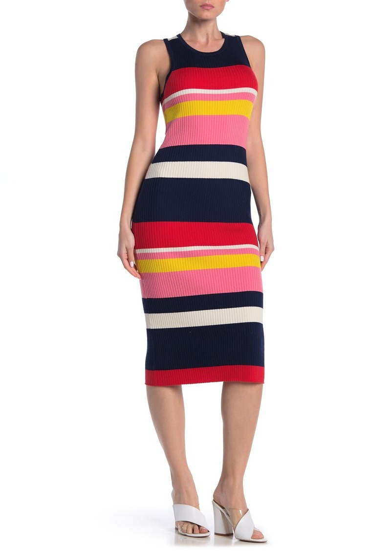 Trina Turk Stripe Wool Blend Rib Knit Sleeveless Dress