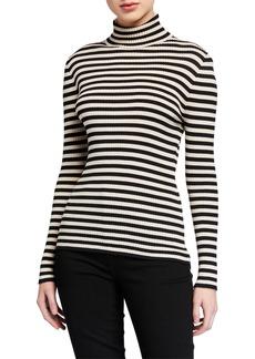 Trina Turk Striped Ribbed Turtleneck Sweater