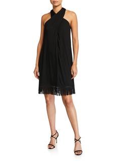 Trina Turk Sumatra Fringe-Hem Halter Dress