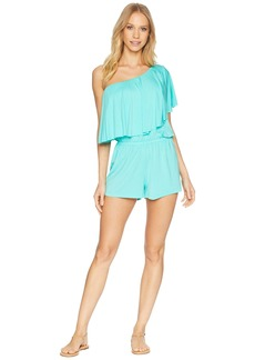 Trina Turk Sunshine One Shoulder Romper Cover-Up