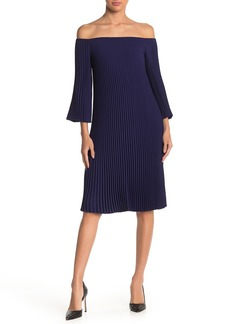 Trina Turk Suprisingly Pleated Off-the-Shoulder Dress
