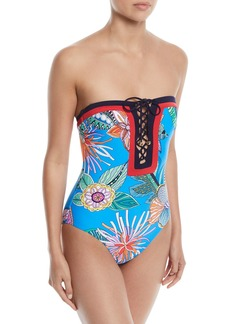 Trina Turk Tahiti Lace-Up One-Piece Swimsuit