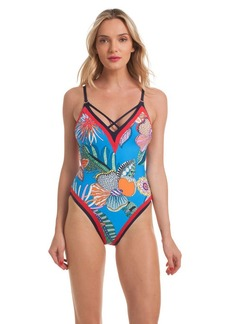Trina Turk TAHITI TROPICAL V PLUNGE ONE PIECE