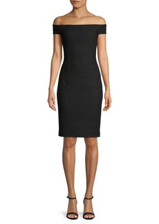 Trina Turk Textured Off-The-Shoulder Sheath Dress