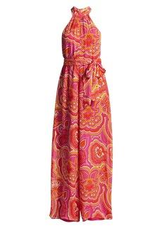 Trina Turk Thea Scarf Print Halter Tie-Waist Jumpsuit