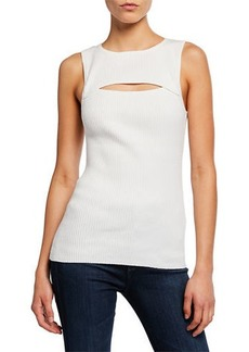 Trina Turk Thyme Ribbed Cutout Chest Sleeveless Sweater