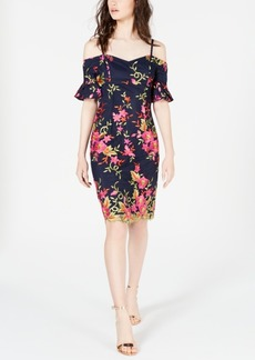 Trina Trina Turk Embroidered Cold-Shoulder Dress