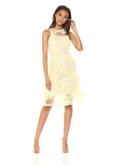 Trina Trina Turk Women's Arroyo Tea Length Lace Dress