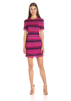 Trina Trina Turk Women's Blu Rib Stripe Stitch Short Sleeve Sweater Dress
