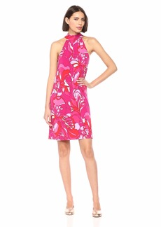 Trina Trina Turk Women's Craving Mock Neck Halter Dress  Extra Small