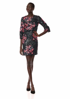 Trina Trina Turk Women's Grenadine 3/4 Sleeve Embellished Dress Pink pop Night Floral