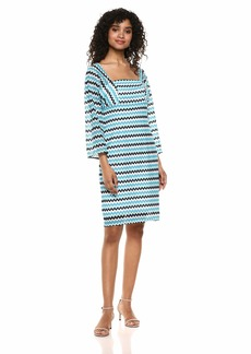 Trina Trina Turk Women's Quanit Square Neck Sleeved Dress