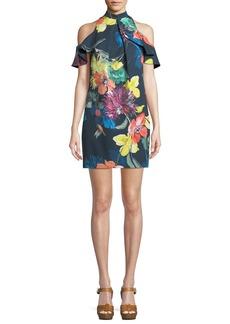 Trina Turk Amado Splendor in the Garden Cold-Shoulder Mini Dress