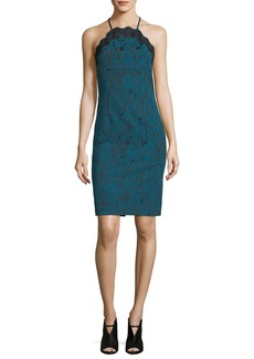 Trina Turk Arlen Sleeveless Halter Paisley Jacquard Cocktail Dress