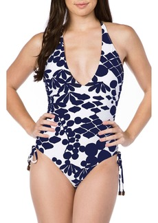 Trina Turk Bali Blossoms Halter One-Piece Swimsuit